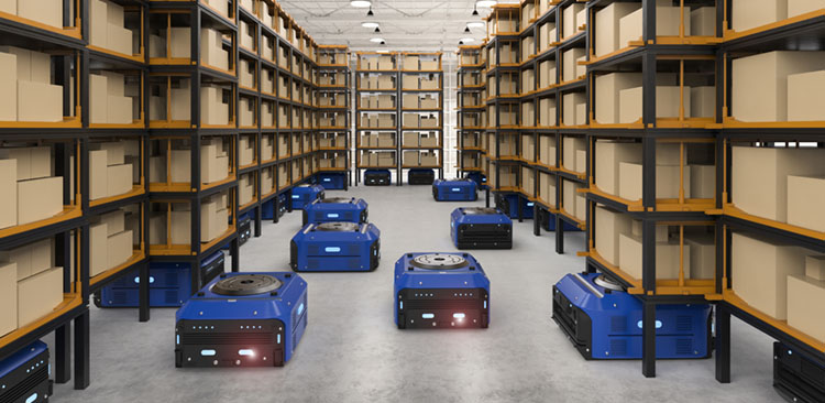 Blaue Roboter in Paketlager